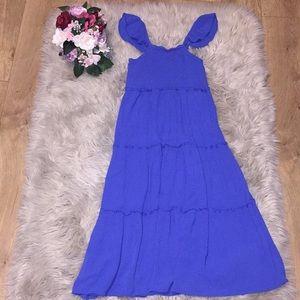 Blue cheese cloth boho style dress